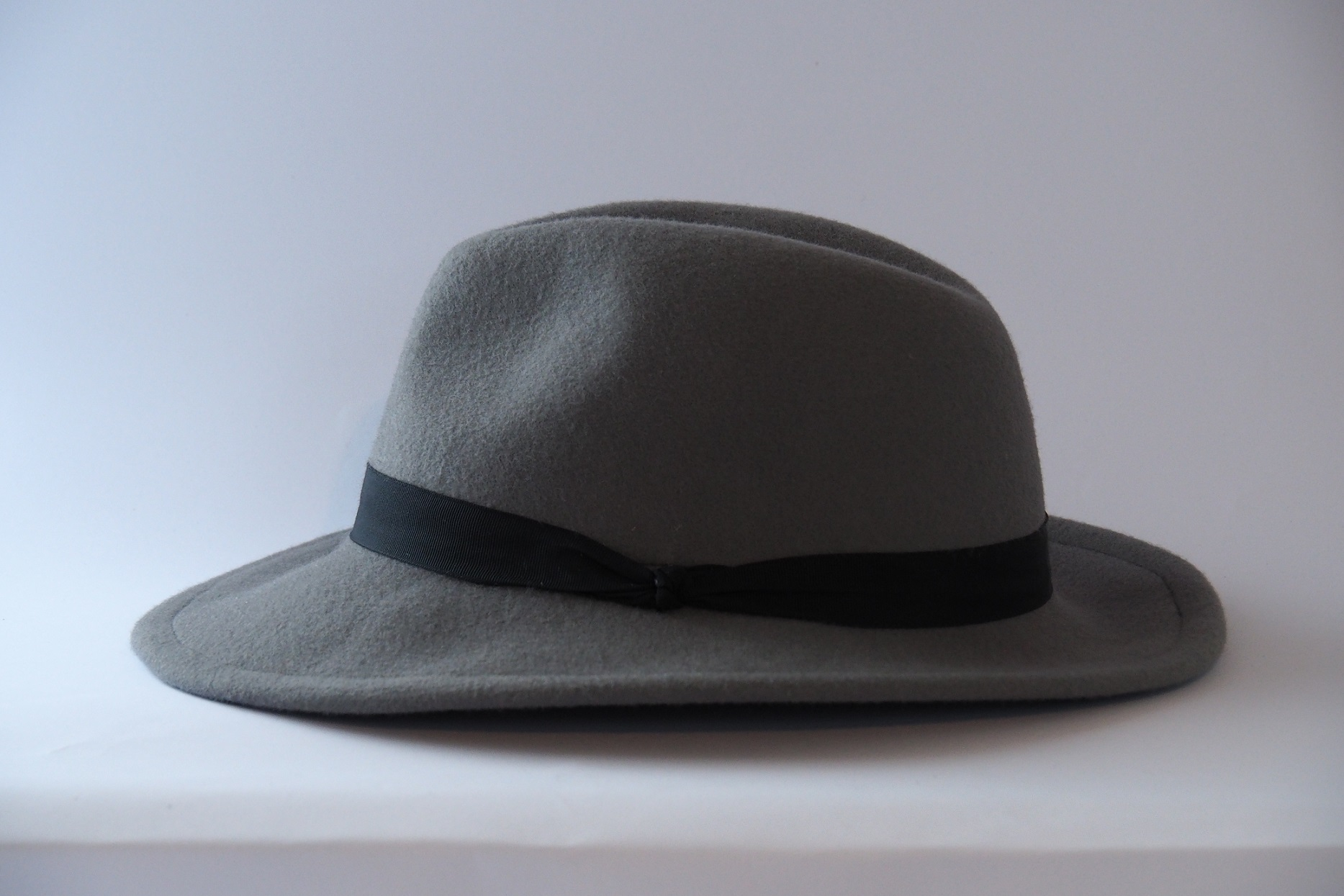 Grey hat with black ribbon