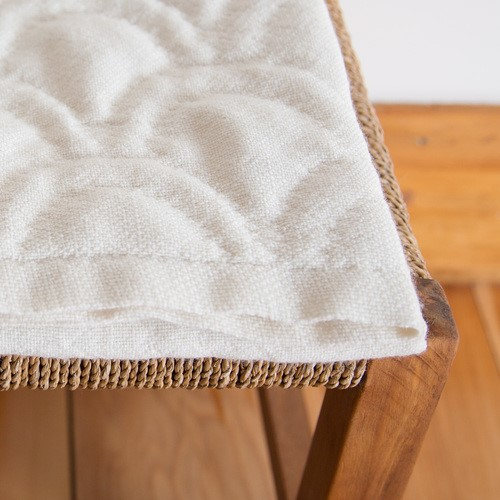 Sojourn Hand Woven NZ Wool Baby Blanket - Ocean Waves in Natural Cream