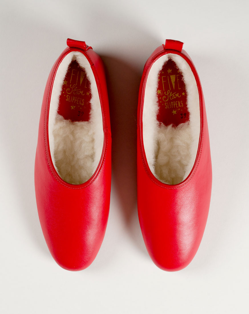 Red leather classic slippers