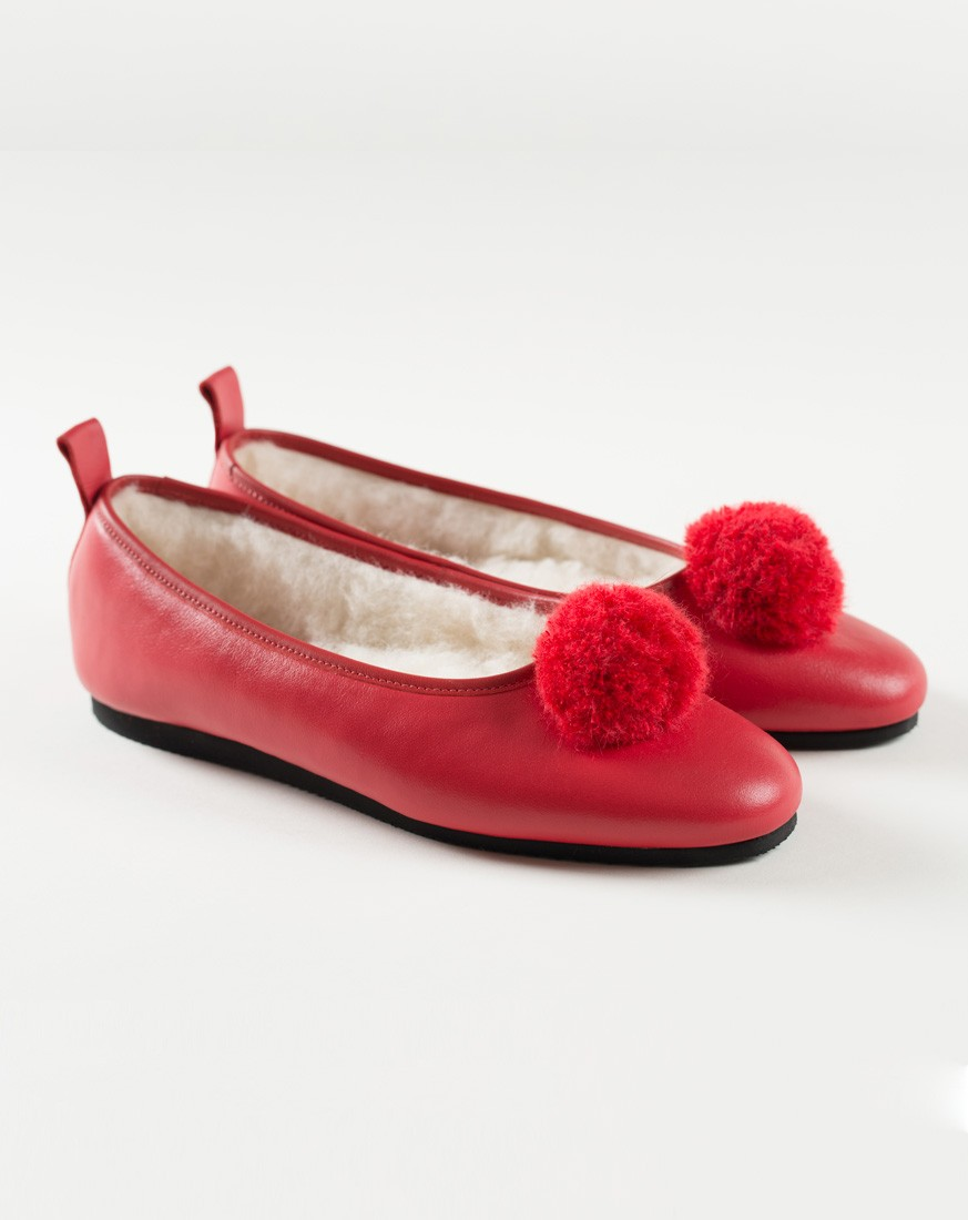 Red Leather Ballet Style with Pompom