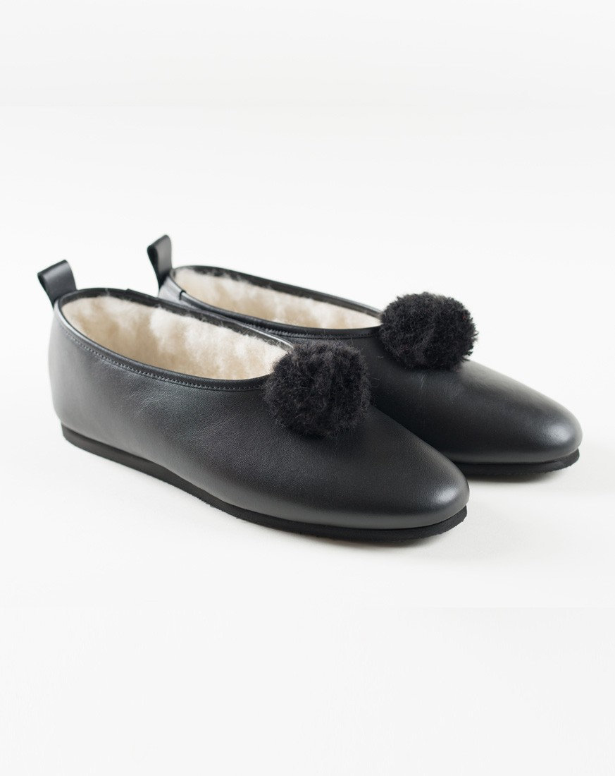Black Leather with Pompom- Classic Style