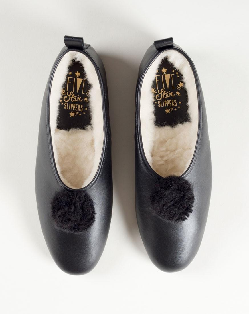Black Leather Pompom