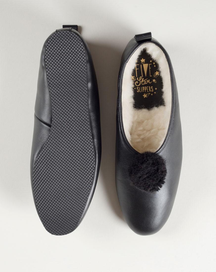 Black Leather with Pompom