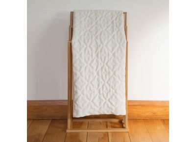 Sojourn Hand Woven NZ Wool Baby Blanket - Geotile in Natural Cream