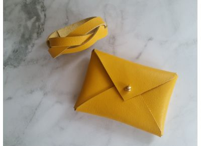 Handmade Leather Card Holder - Mustard Yellow