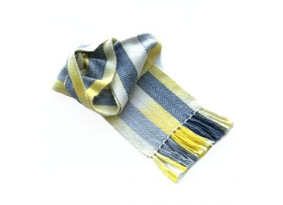 Yellow + Grey Watercolour Scarf in Alpaca