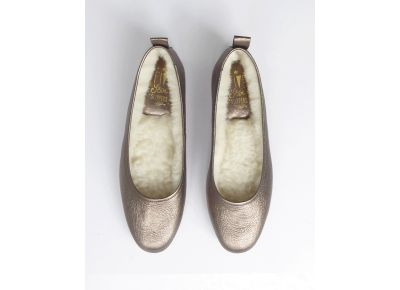 Bronze Ballet Leather Slippers